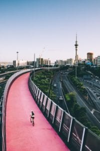 auckland city skyline and cycleway
